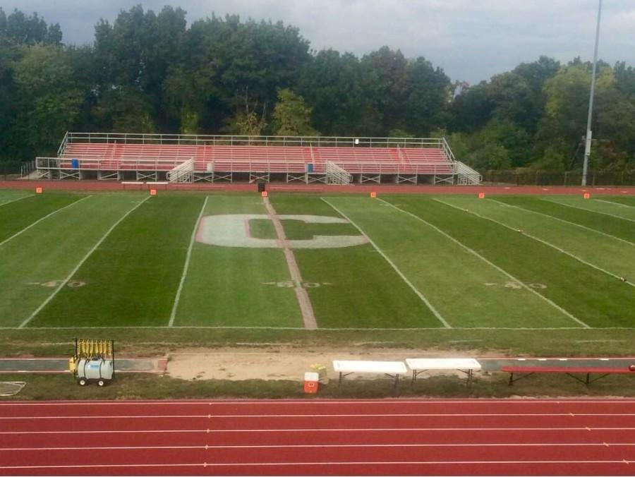 The+maintenance+decked+out+the+football+field+for+October%27s+Breast+Cancer+Awareness+month.+