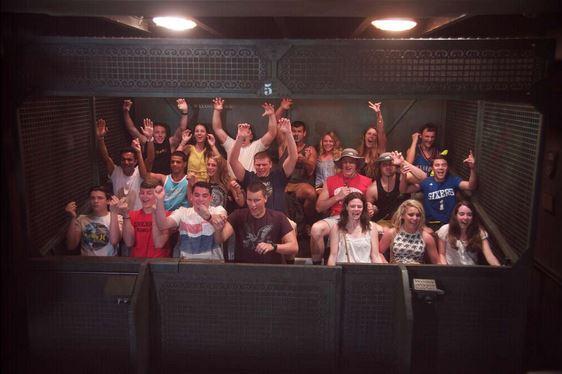 Seniors enjoy the thrill of Tower of Terror in Hollywood Studios.