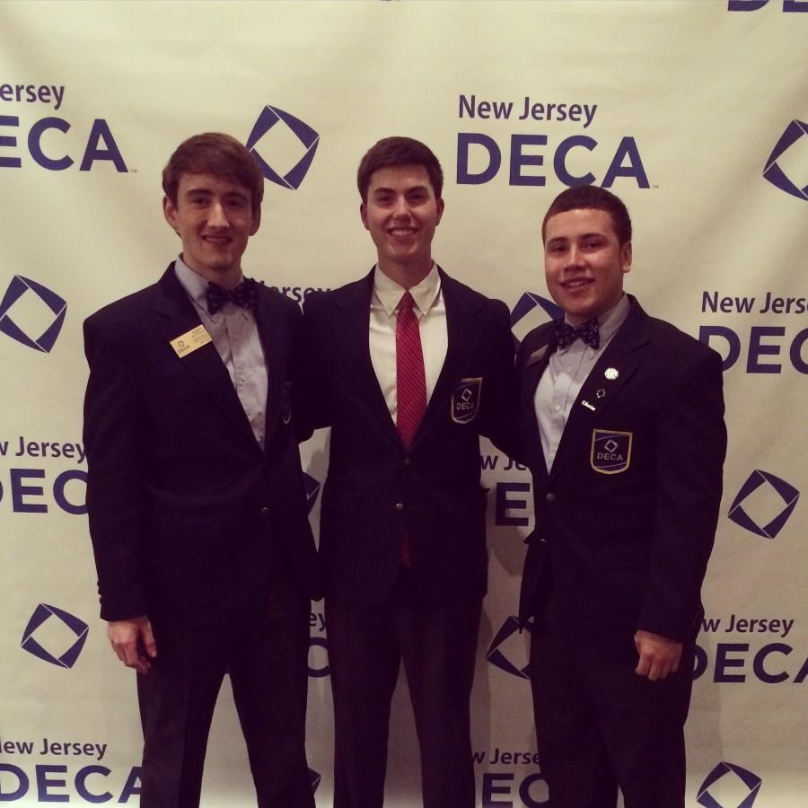 """Thomas Schlindwein (middle) was named """"New Jersey State Treasurer"""" for DECA. His position will be changed to Social Media Correspondent."""