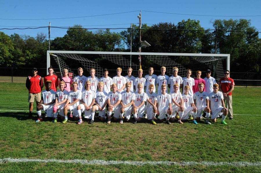 The Boys Soccer Team poses for a photo before a game this season