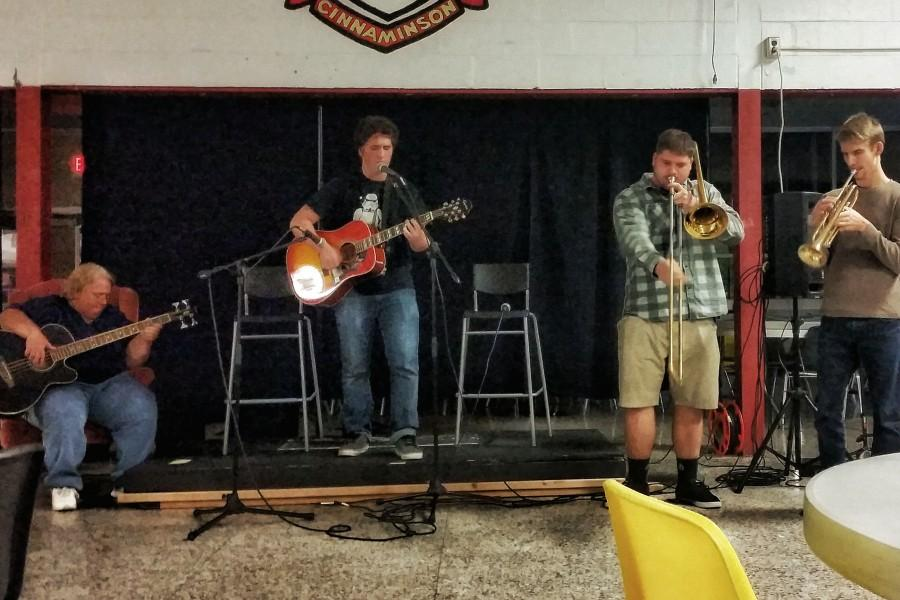 (Pictured from left to right) Ms. Knisley, Cj Cunnane, Kieth Swartley, and Mr. McGenagan perform together.