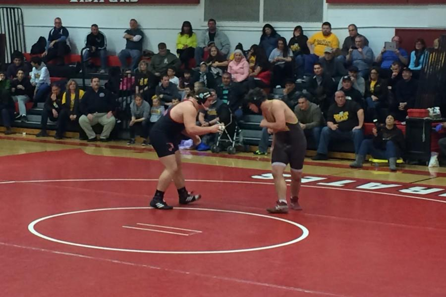 CHS Heavyweight Keith Swartley Stalks His Delran Opponent in Monday's Match