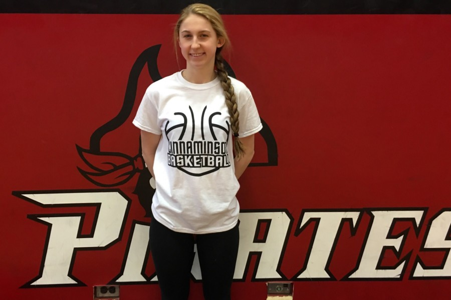 The first 100 people to arrive at the girls playoff game starting at 5 p.m. will receive the free t-shirt pictured above on senior star Marisa DiLeo.
