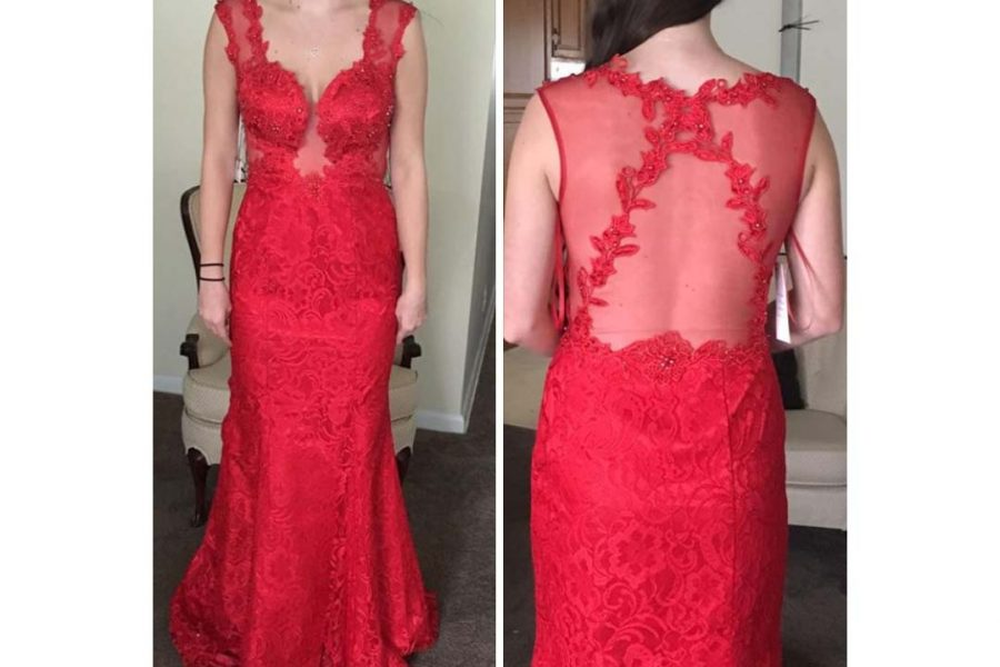 Katie O'Connor tries on her prom dress for the Facebook page for Cinnaminson students
