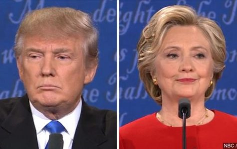 Donald Trump, left, and Hillary Clinton are seen in a screen shot taken from a debate from earlier in the election season.
