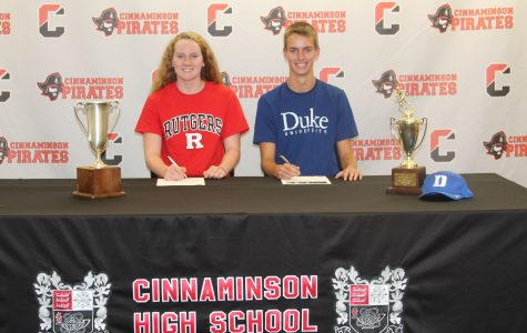 Seniors Lily Black and Mike Ungvarsky sign their letters of intent with their respective colleges on Tuesday, November 15.