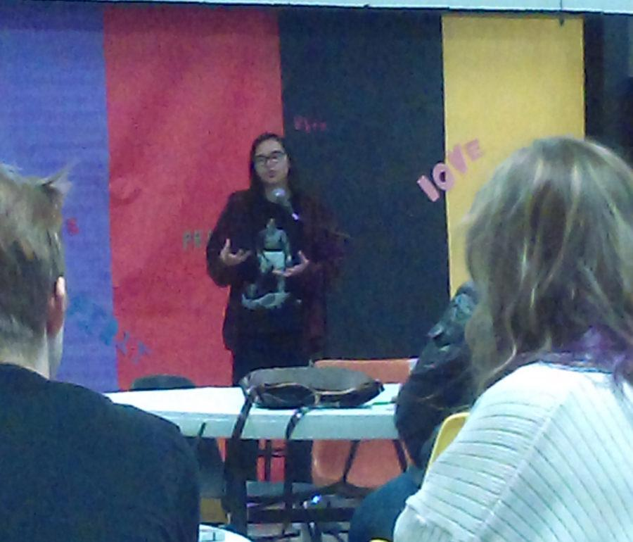 CHS Student Pauline Therese Monter performs at Coffee House in CHS cafeteria.