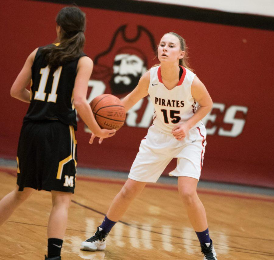 Senior Fiona Flynn steadies herself on defense against Moorestown two years ago.