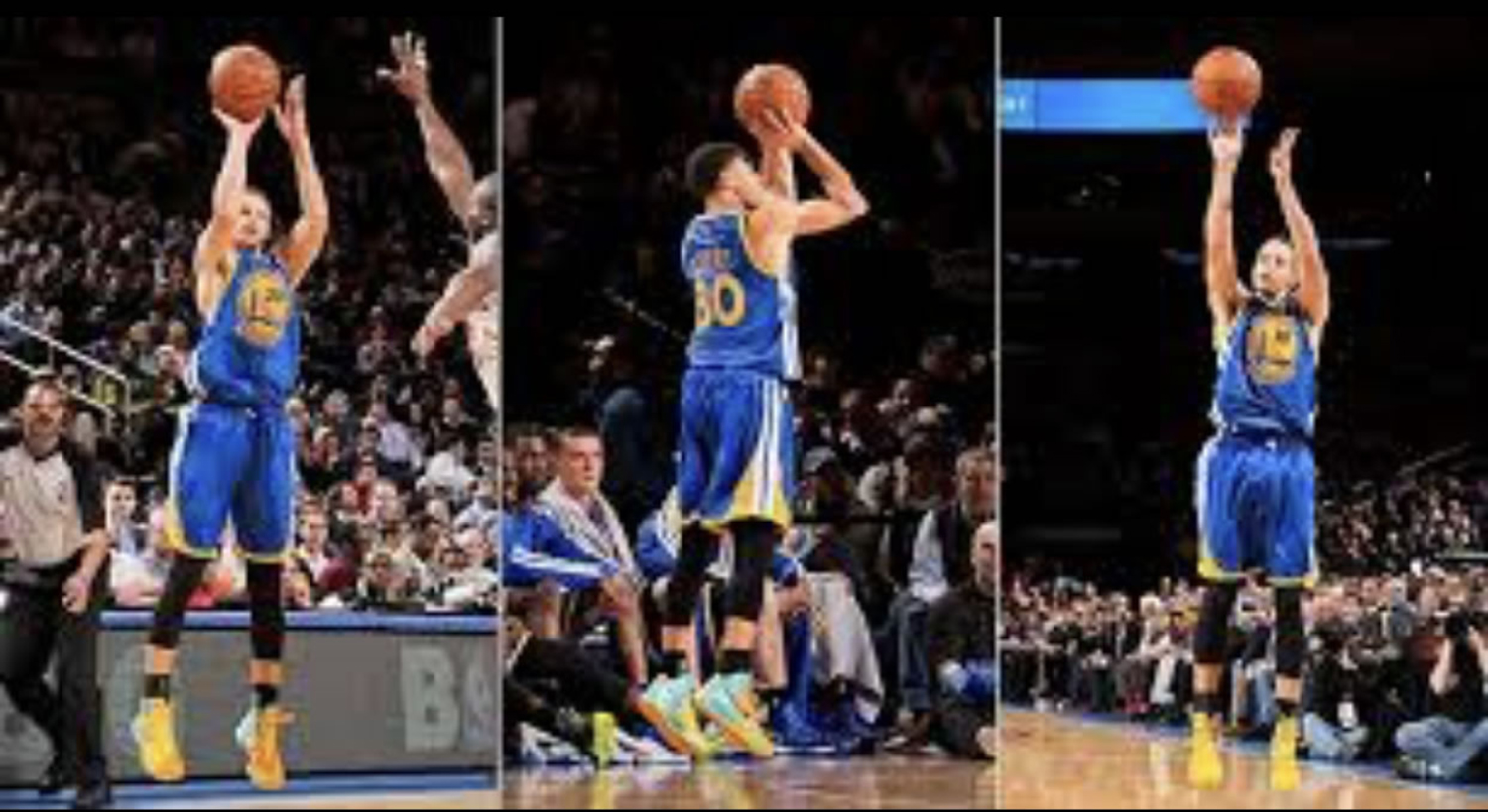 Steph Curry shoots threes for his Golden State Warriors team.