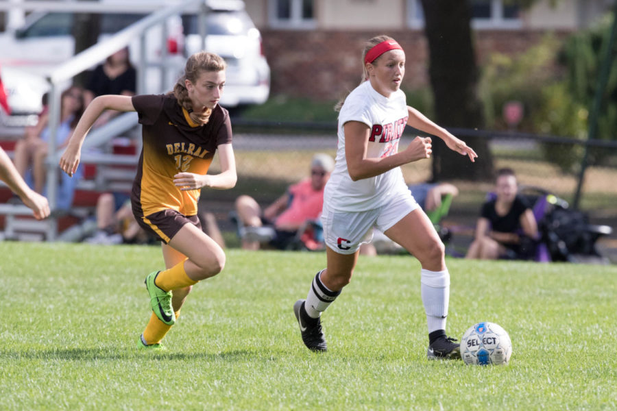 Senior captain Hailey Gutkowski dribbles the ball up the field against Delran in the Lady Pirates 4-1 victory over Delran on Sept. 27