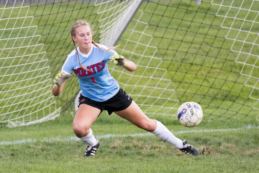 Junior goalie Maddie Ogden saves a ball in a 4-1 win over Delran on Sept. 27.