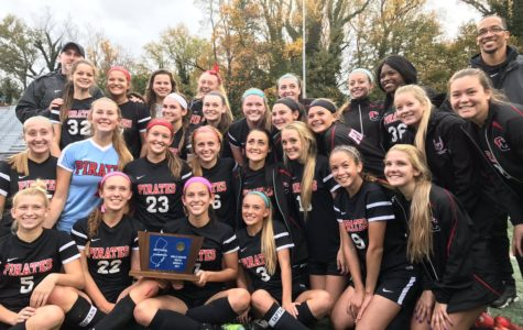 Mr. Digney (back left) poses with the Cinnaminson Girls Soccer team captured the South Jersey Group 2 sectional soccer championship after its 3-2 victory over Haddonfield.