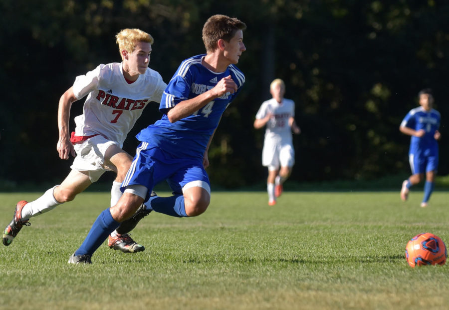 Senior Dan Kern chases the ball against Northern Burlington in the CHS 1-1 ties on Oct. 2