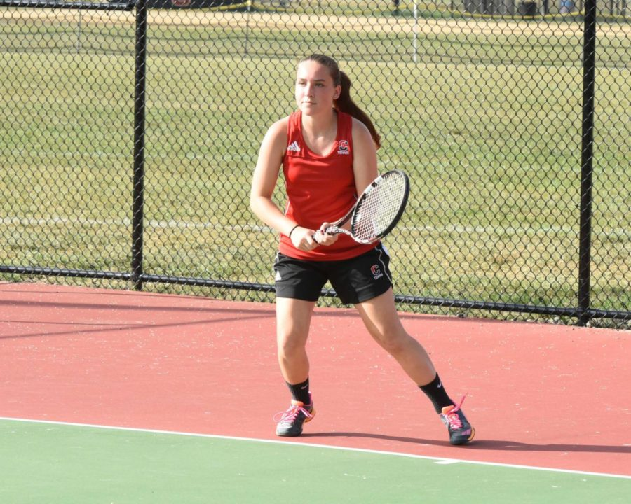 Junior Emma Trzaska made the jump to first singles and put up a very respectable record of 10-7 in her first season in the spot.