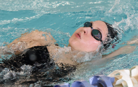 Senior Alyssa Cherubino works her backstroke before a meet this season for CHS