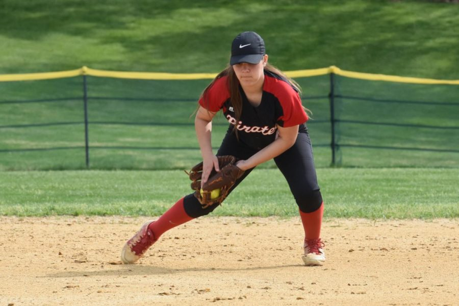 Sophomore Payton MacNair gets ready to throw out a runner