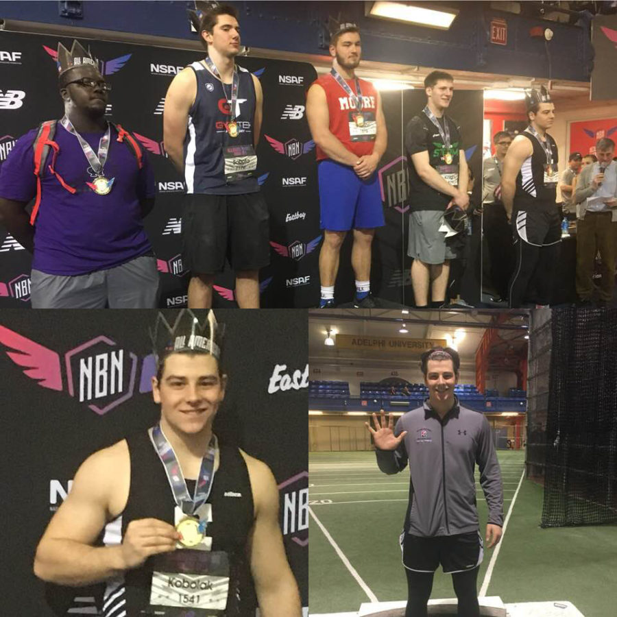 Montage of senior Kamron Kobolak's experience at the New Balance Nationals - posing for 5th (top); his crown and medal (bottom left); in the circle for fifth (bottom right)