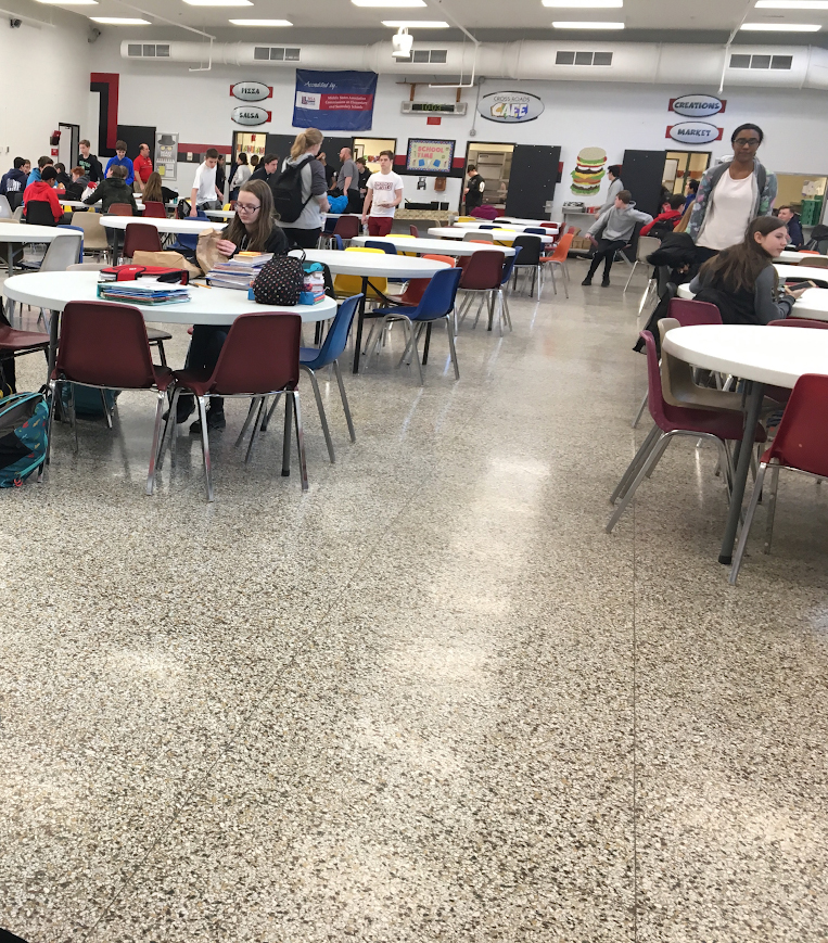This is what the cafeteria looked like during the walkout during 9th grade lunch