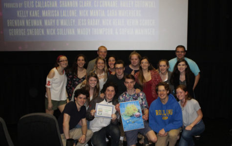 Cinnaminson's Advanced TV Production Poses with 10-Day Challenge Representatives After Winning Third in the State of NJ