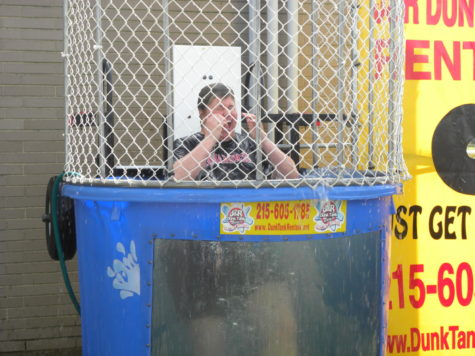 Mrs. Llewellyn hits the dunk tank on Pride Day in 2012