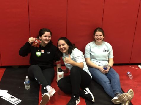 Julia Brennan, Helena Paraejo and Amanda Antico take a break during their NHS duties at the Blood Drive.