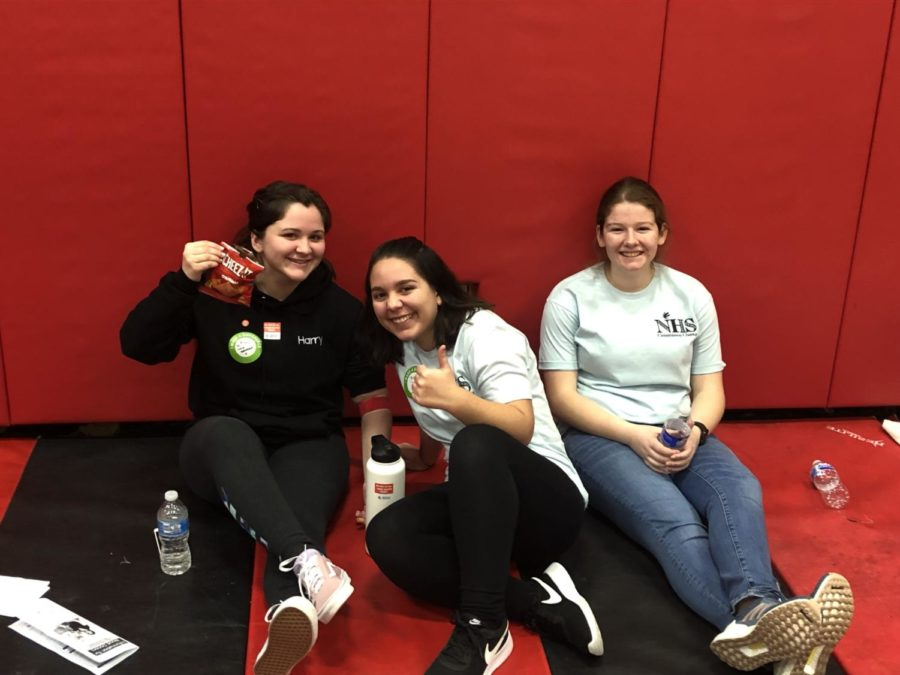 Julia+Brennan%2C+Helena+Paraejo+and+Amanda+Antico+take+a+break+during+their+NHS+duties+at+the+Blood+Drive.