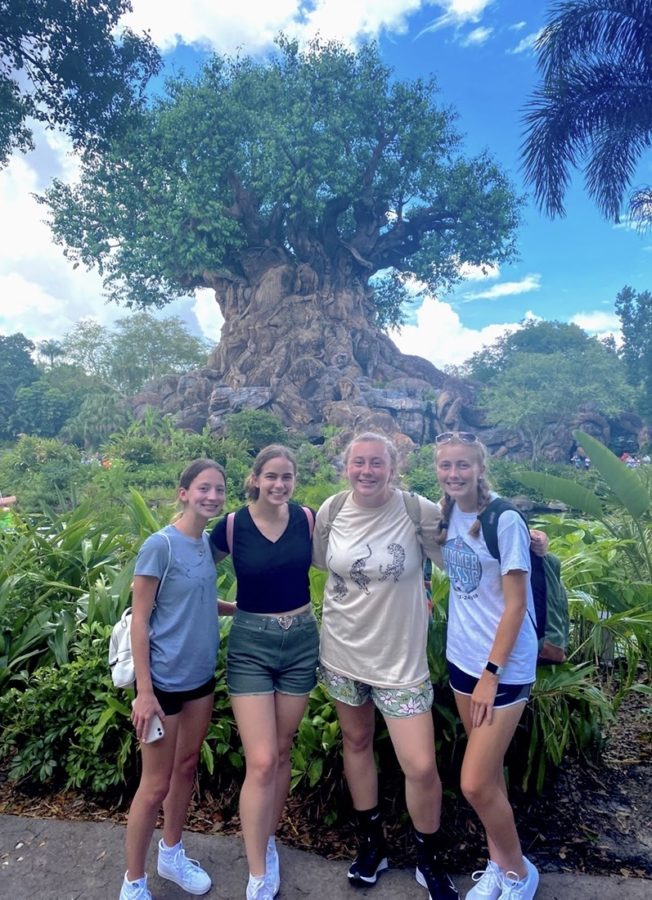 (Left to right) Kira Theis, Isabella Korbal, Kiera Pease, and Hailey Dwyer pose for a picture in front of the Tree of Life in Disneys Animal Kingdom.